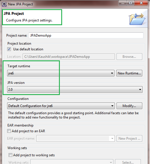 Create JPA project